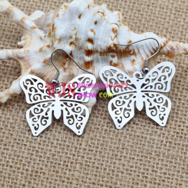Stainless Steel Large Circle Butterfly Earrings