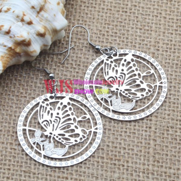 Stainless Steel Blooming Flowers Dangle Earrings