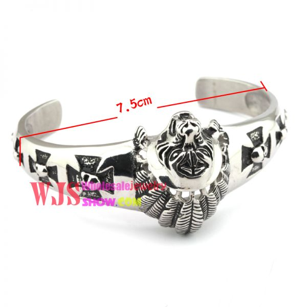Free shipping new fashion chief of a tribe bracelet cross skull casting stainless steel bracelet 2014 high quality bracelet 316L