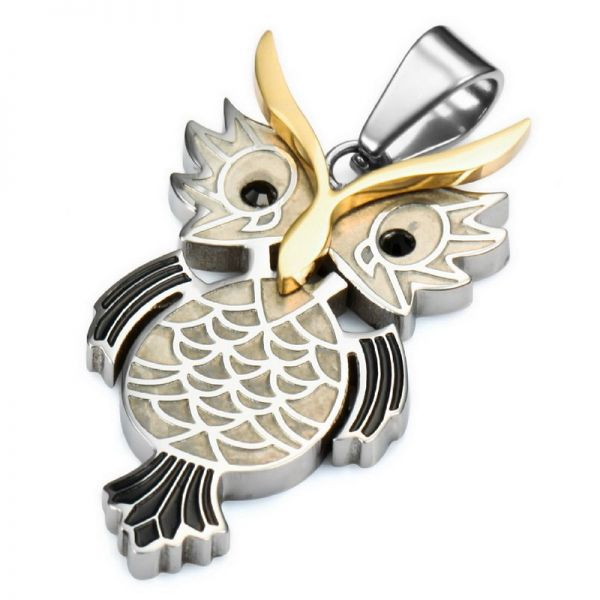 Kayier Jewelry Stainless Steel Pendant Men Silver Gold Owl Punk