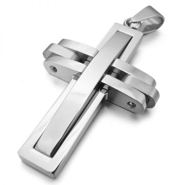 Mens 21 century stainless steel silver cross pendant chain necklace mens 21 century stainless steel silver cross pendant chain necklace aloadofball Image collections