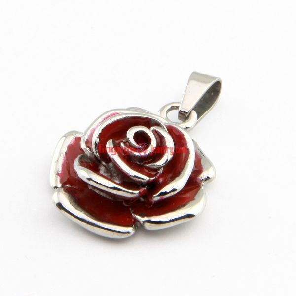 Women's Special Designed Newest Jewelry Stainless Steel Red Rose Shape Vintage Necklace Pendant Length: 2.6 cm