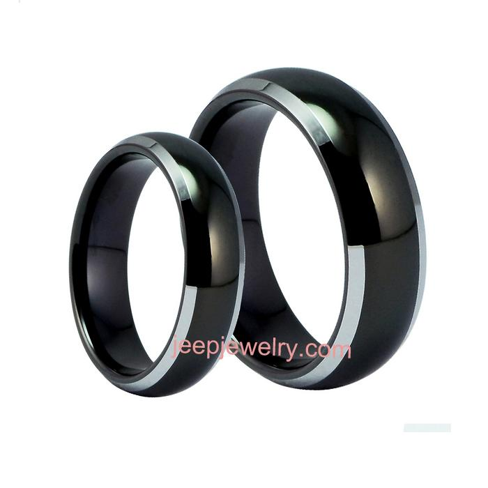 Female ring black tungsten gold ring man ring personality fashion