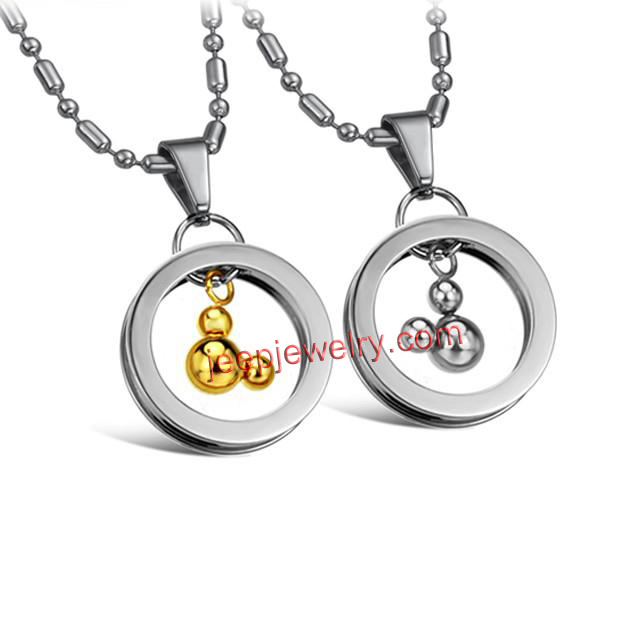 yellow creative fine jewelry ring mickey pendant stainless