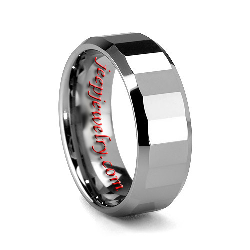 8MM FACETED EDGED TUNGSTEN WEDDING BAND HIGH POLISH JEEPJEWELRY Wholesale