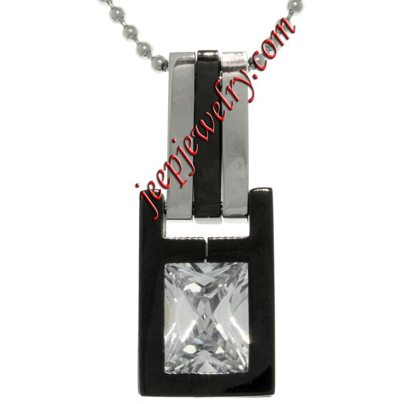stainless steel cubic zirconia two tone geometric pendant