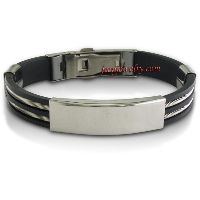 stylish stainless steel and black rubber mens id bracelet