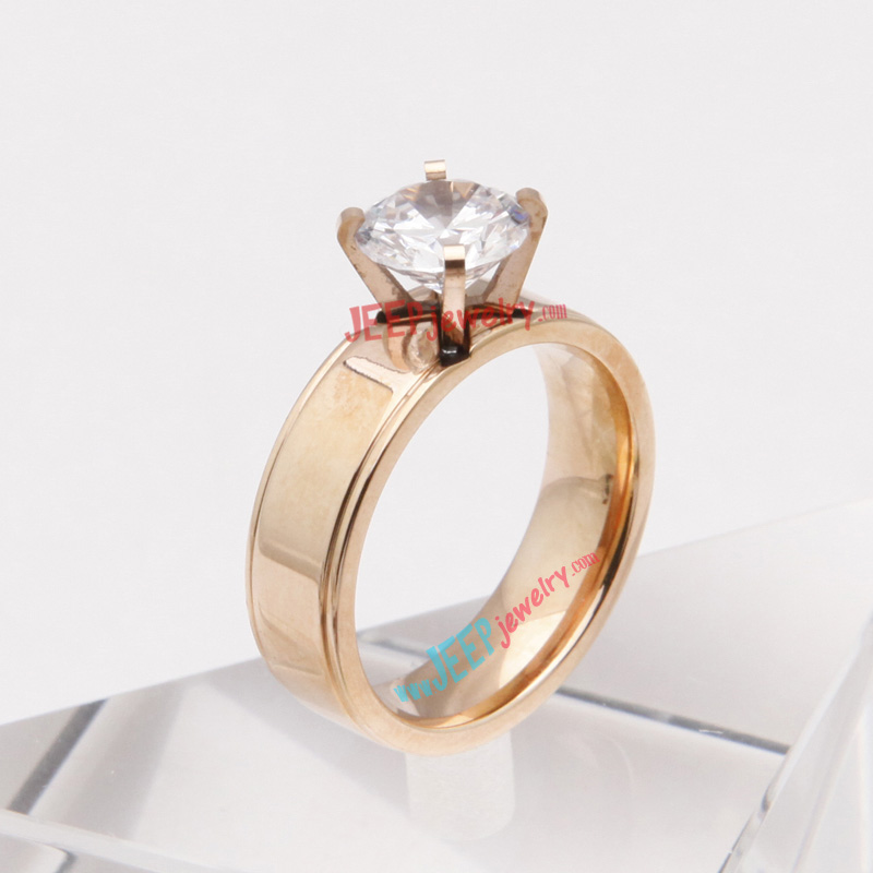 316L stainless steel dazzling appearance stone ring of simple ...