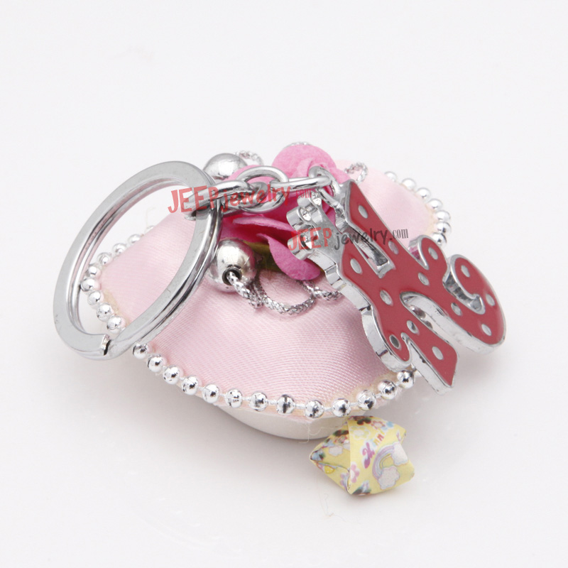 the fashionable diamond red word h alloy key ring