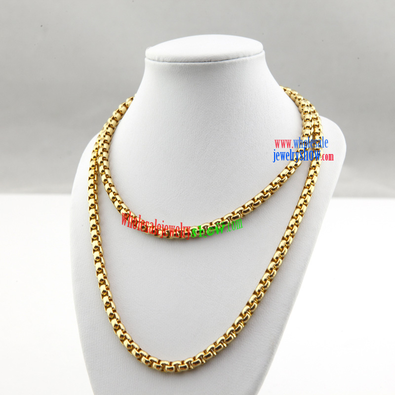 Stainless steel jewelry for men gold color lock stainless steel necklace men popular wholesale mozeypictures
