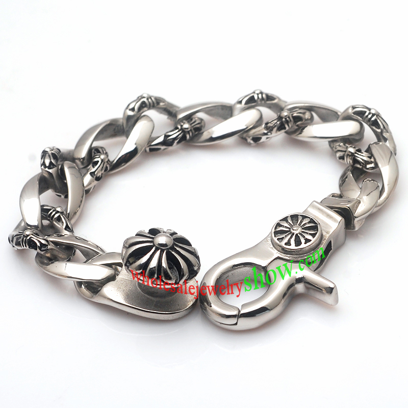 Stainless Steel Bracelet Charms: Thick Chain Design Cool Men Stainless Steel Bracelet