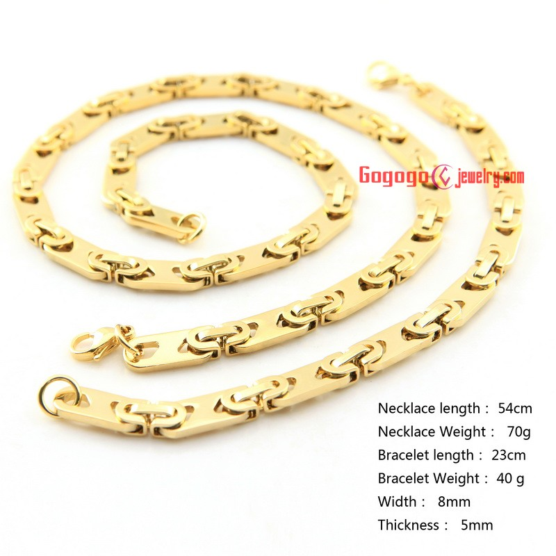 8mm Men Dubai Gold Jewelry Necklace And Bracelet Set Stainless Steel Length 54cm